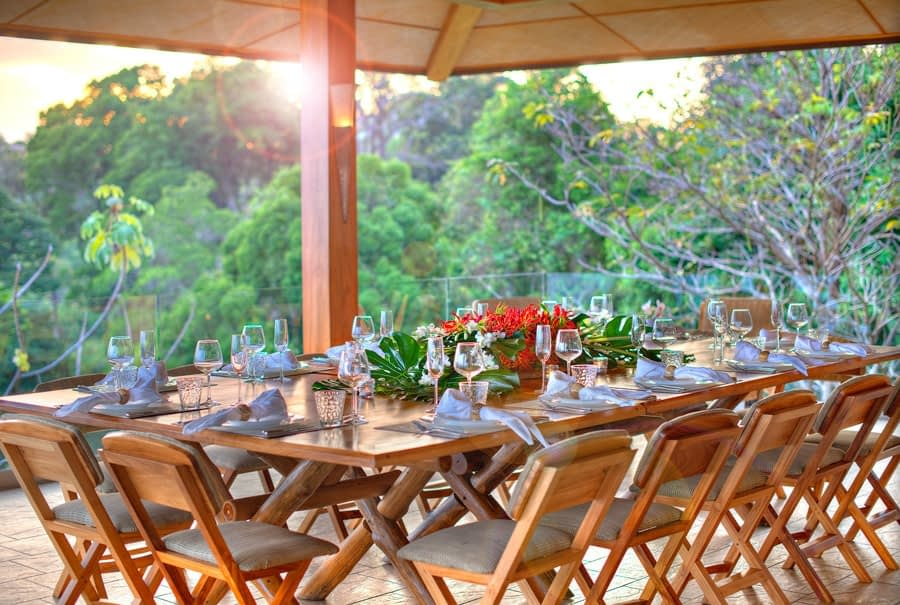 dining terrace at private group villa in costa rica