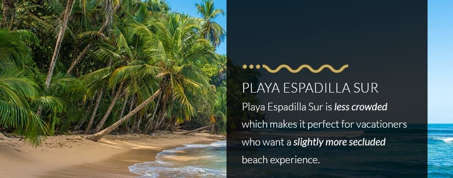 Playa Espadilla Sur Beach in Manuel Antonio, Less Crowded and More Secluded