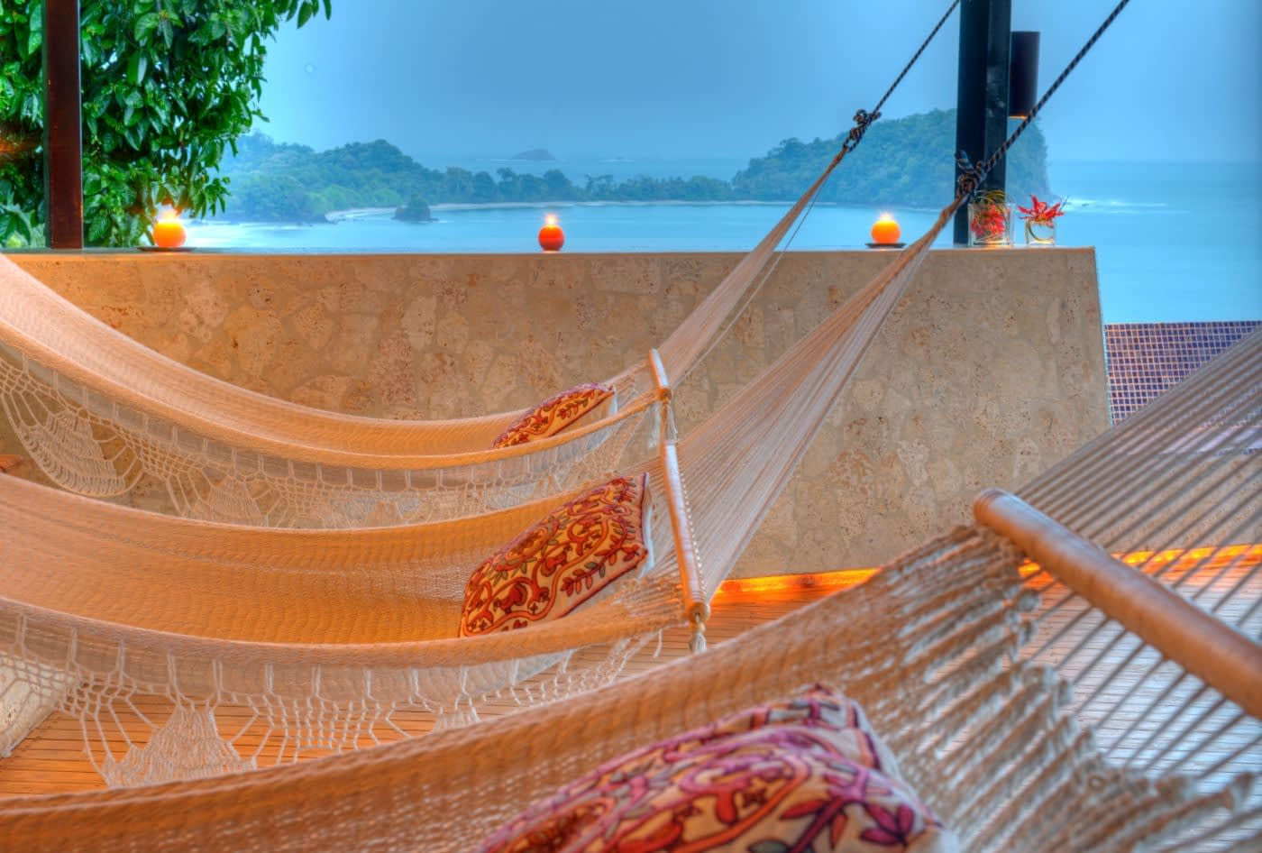 hammocks on rooftop of costa rica villa