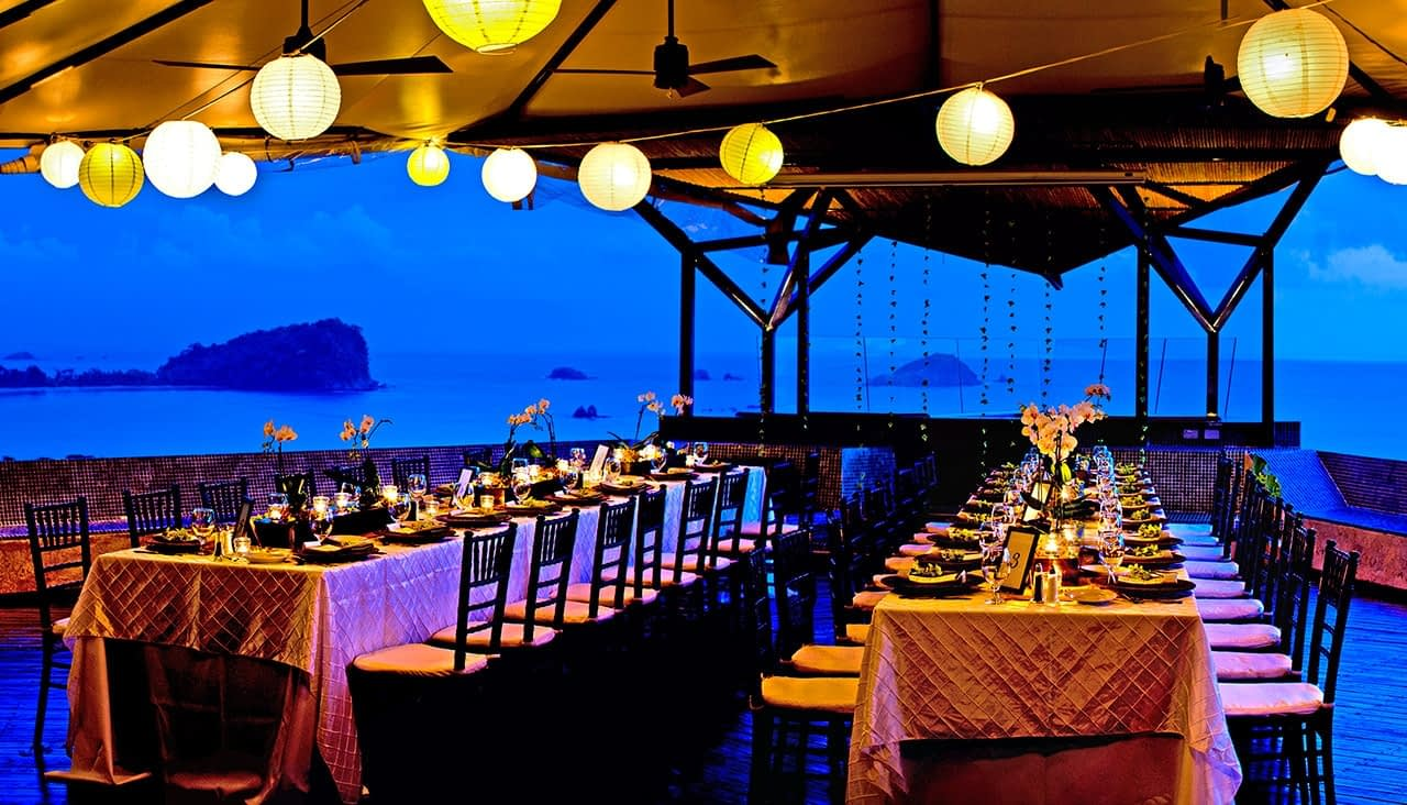 evening wedding reception at villa punto de vista