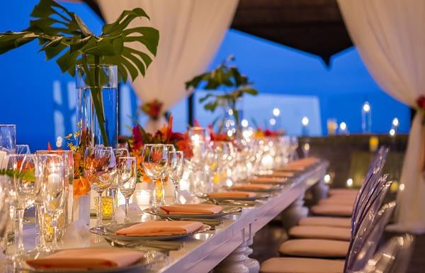 villa punto de vista wedding reception setup