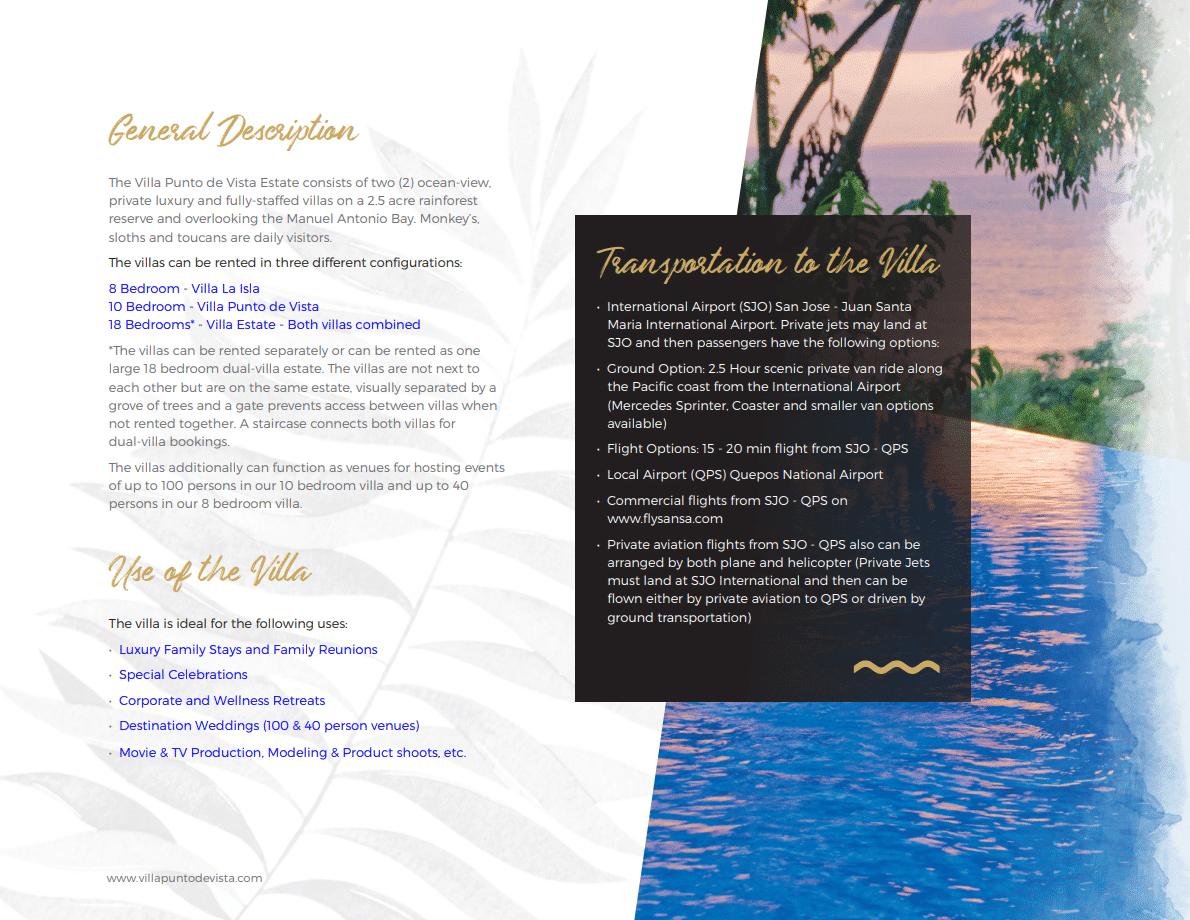 Villa Punto Estate Brochure Page 2